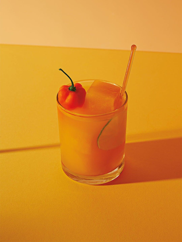 Margarita with orange ice cube