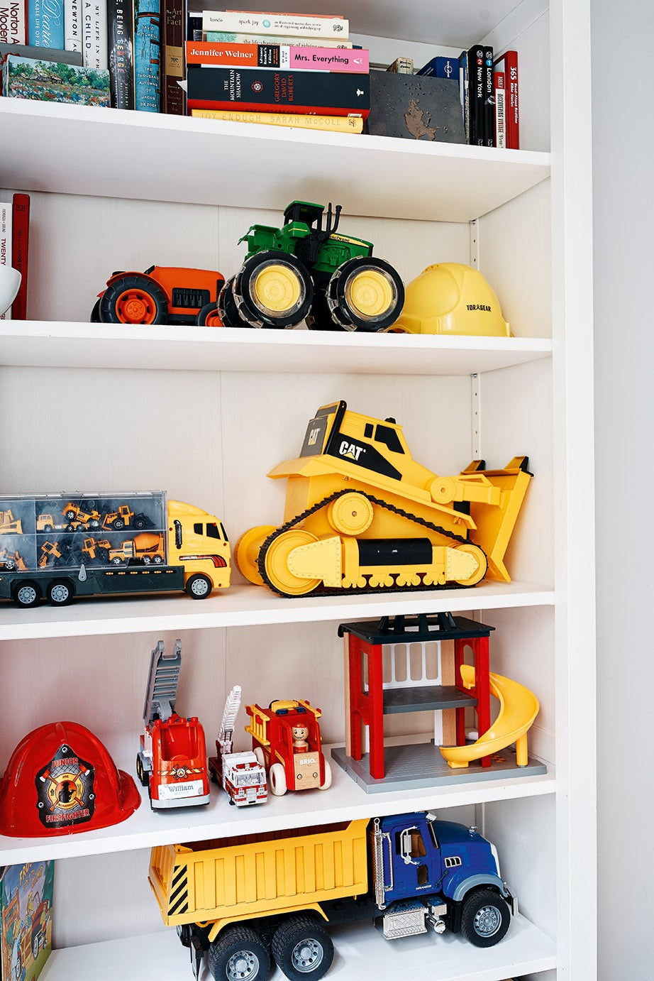 color-coordinated kids room bookcase