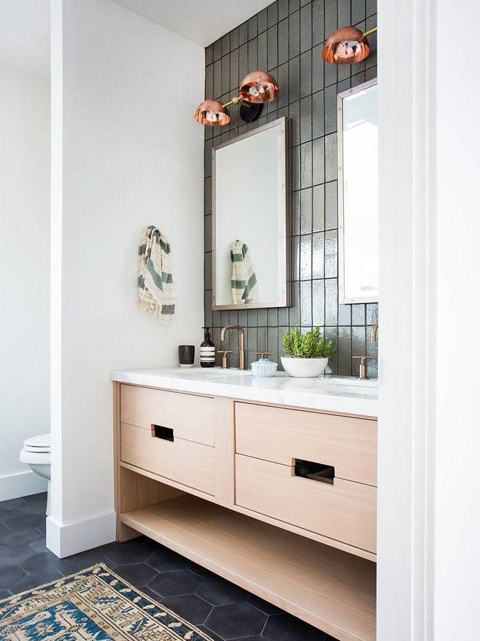 Bathroom with tiled wall