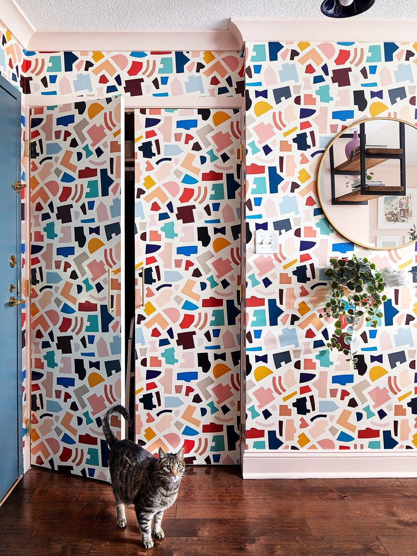 Entrance with terrazzo wallpaper