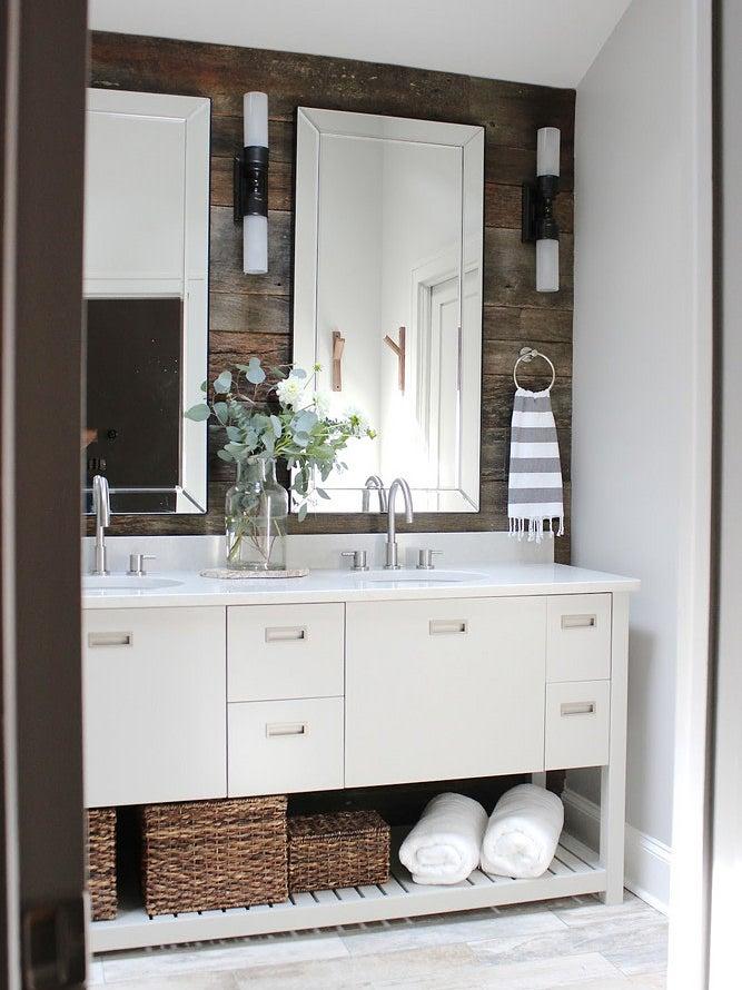 Bathroom with wooden walls