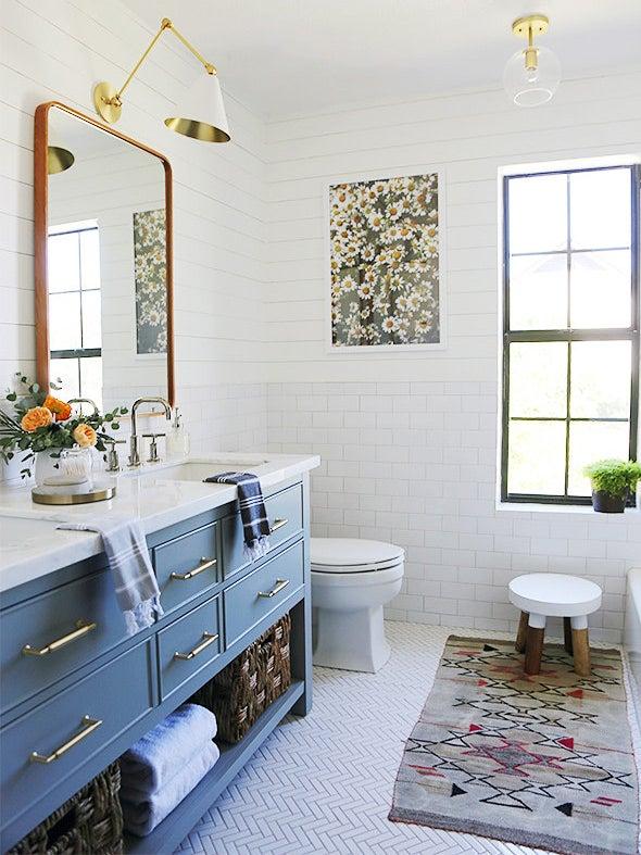 Bathroom with blue sink