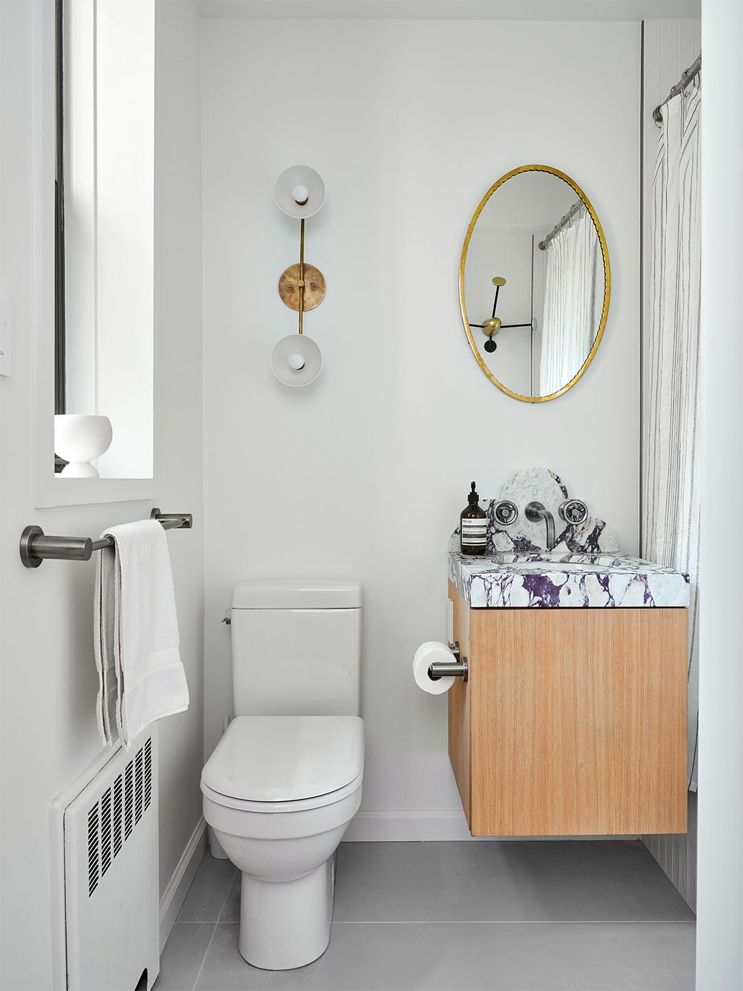 White bathroom with marble sink