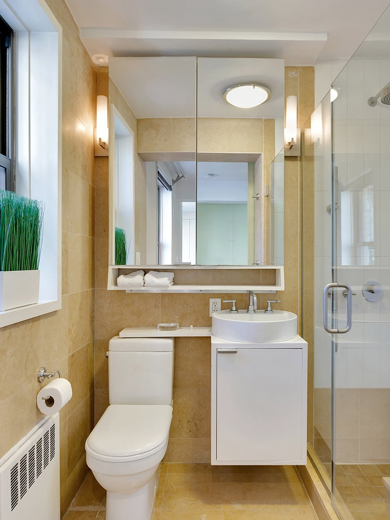 Before - outdated yellow bathroom