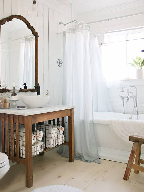 Bathroom with wooden sink console