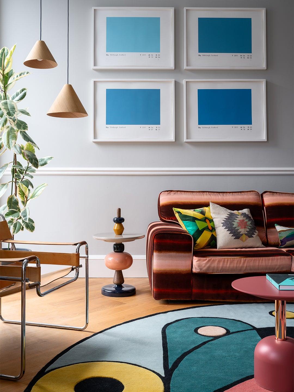 Pink striped velvet sofa in Sam Buckley's Edinburgh apartment