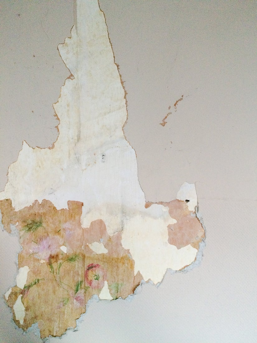 peeled back layers of wallpaper