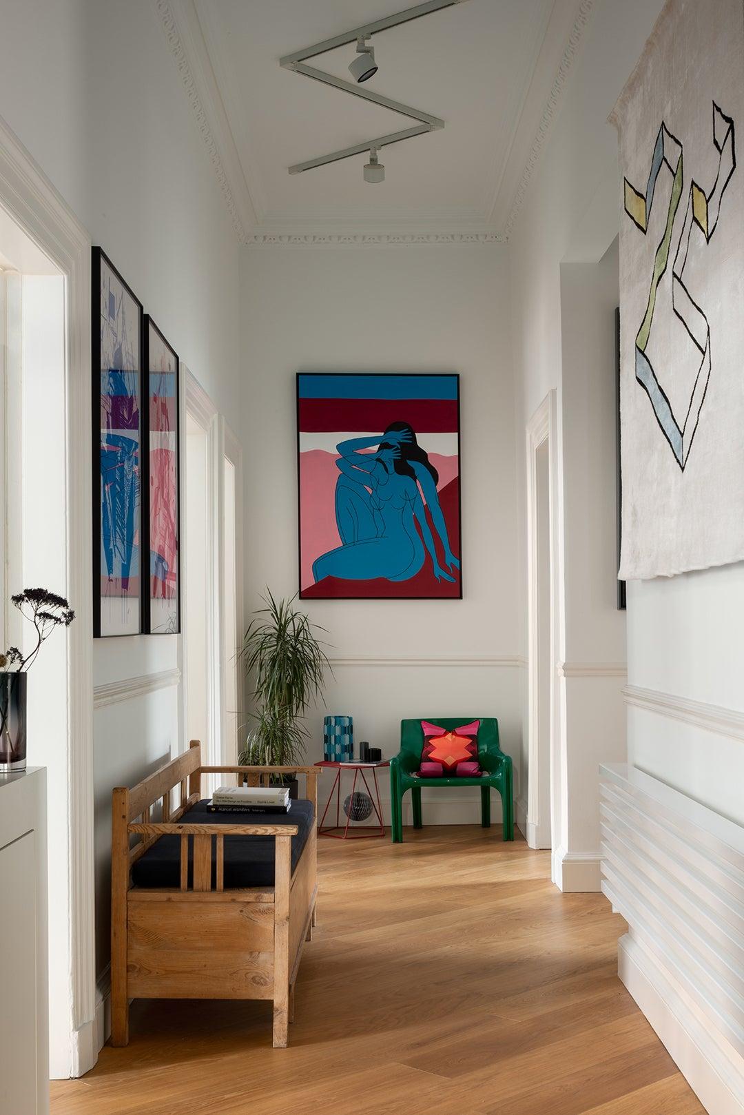Gallery-style hallway in Sam Buckley's Edinburgh apartment