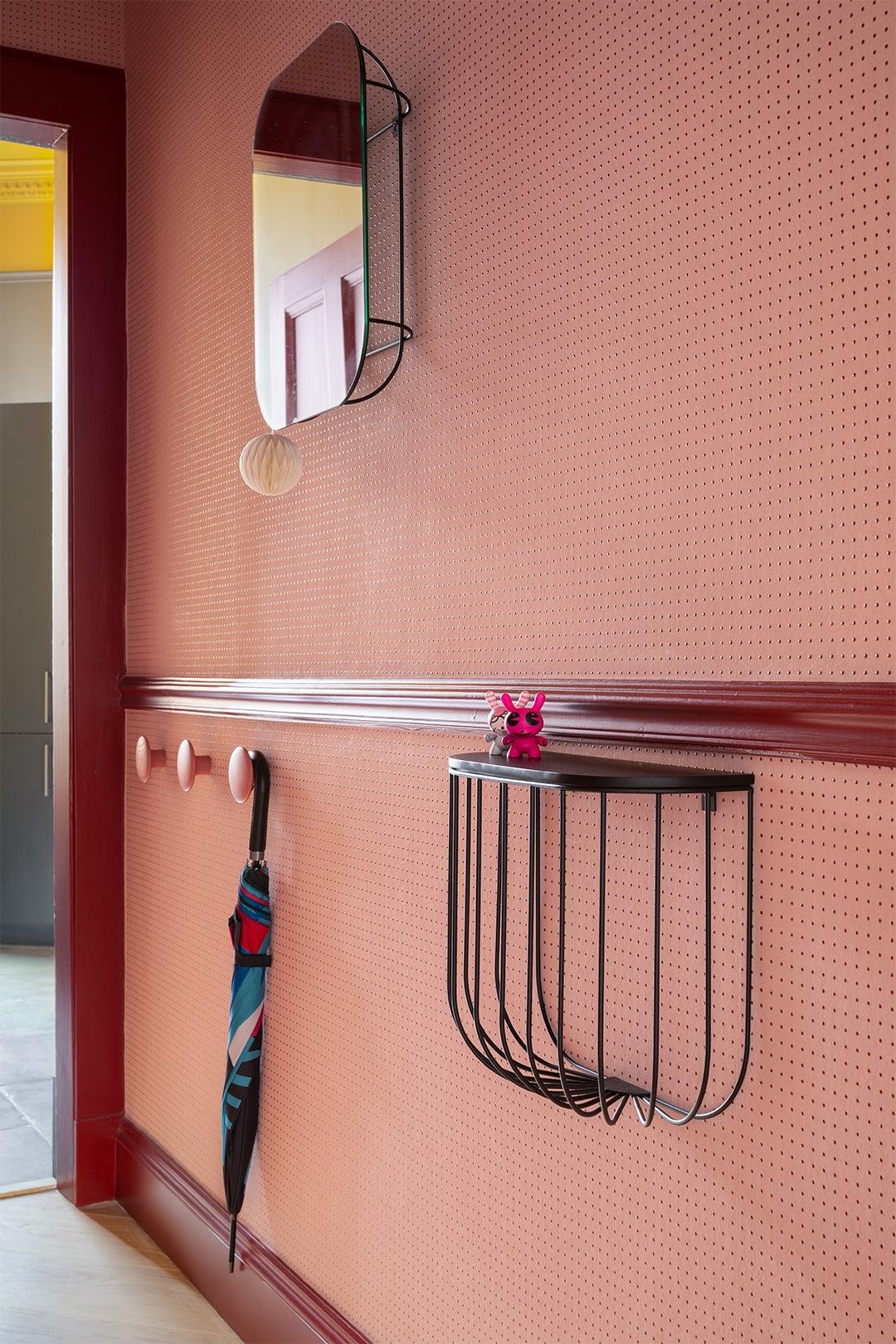 Pink entryway in Sam Buckley's Edinburgh apartment