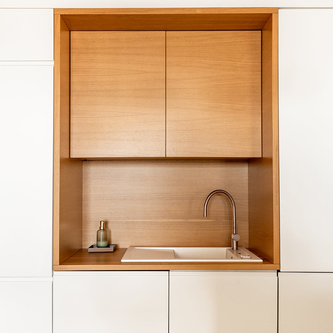 white and wood kitchen cabinetry