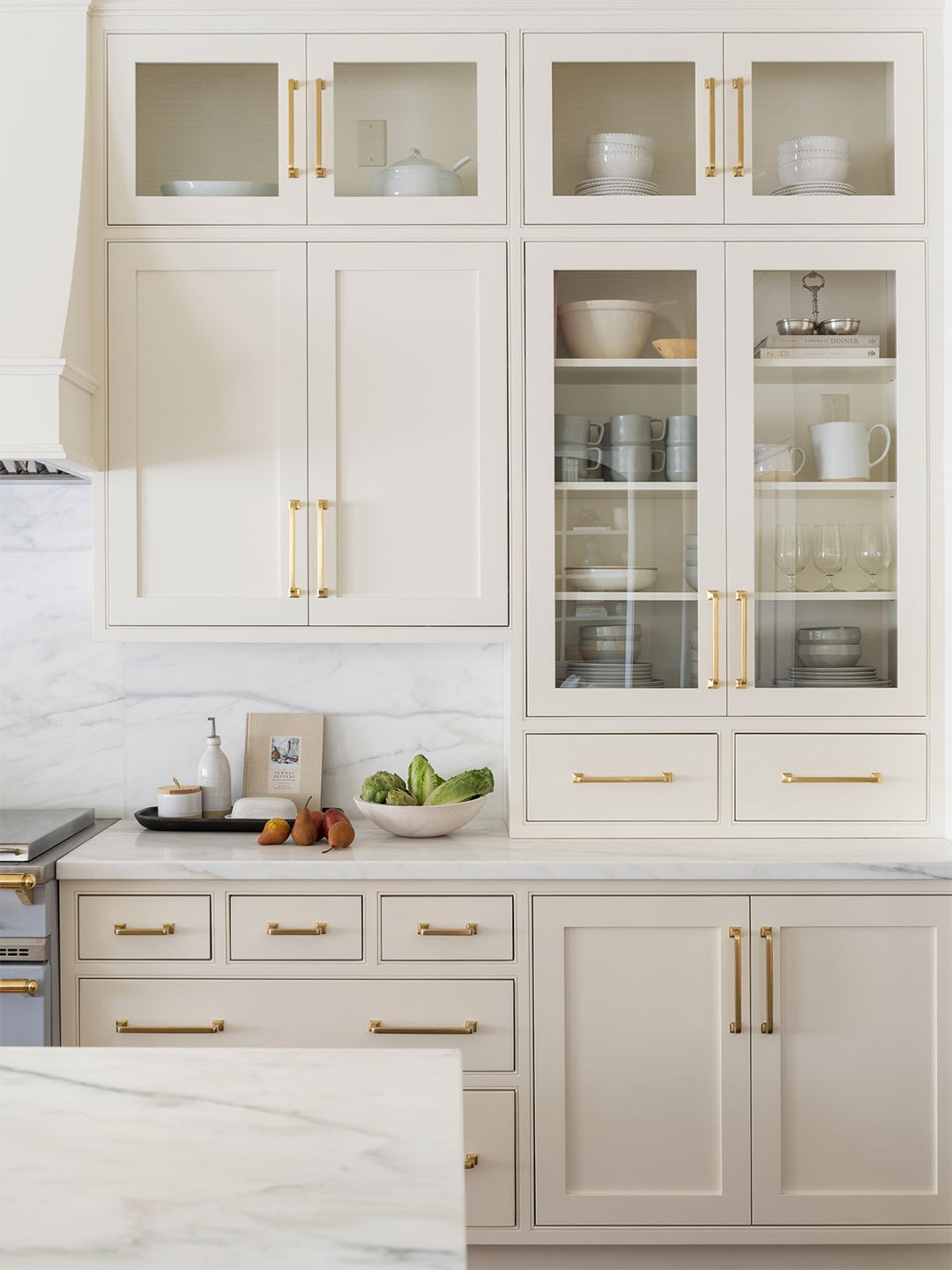 cream colored kitchen and glass front doors