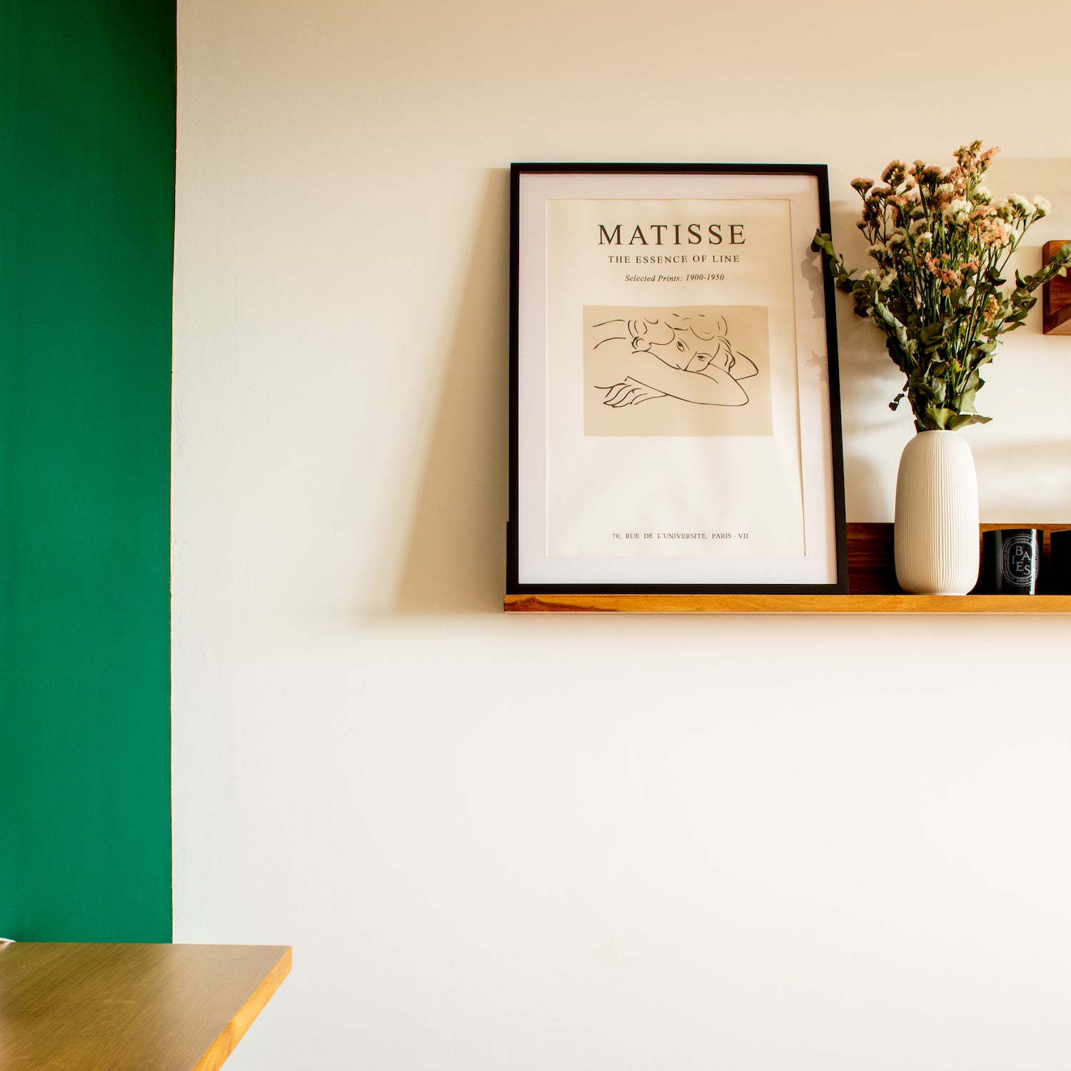 green paint and shelf with florals