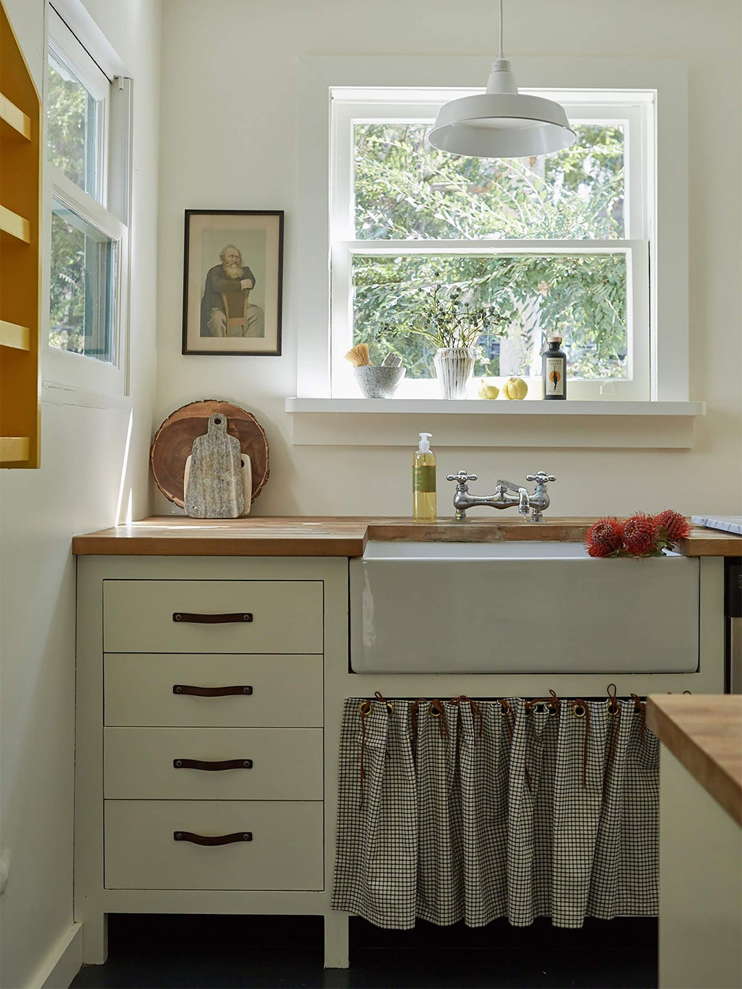 rustic kitchen with skirted sink