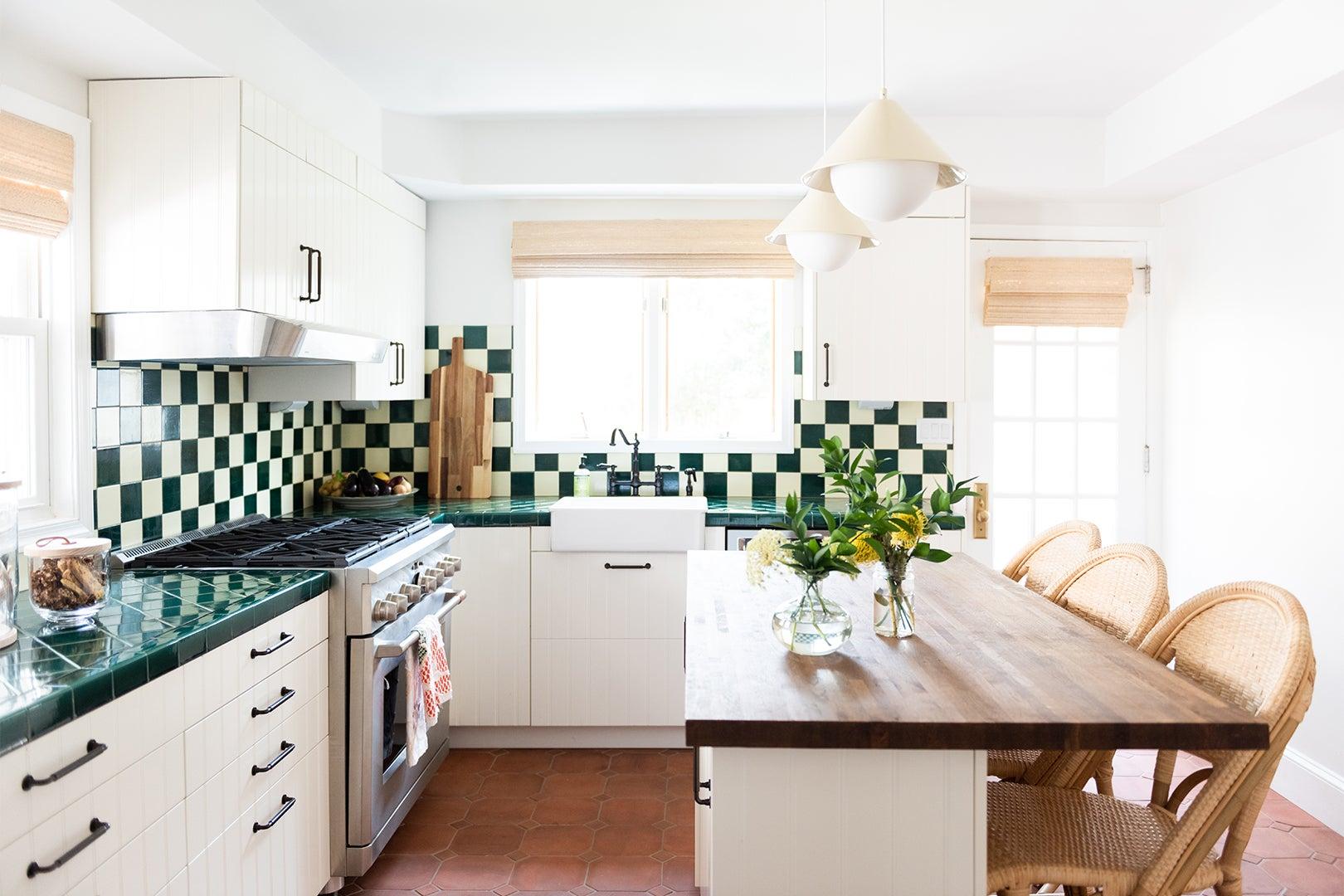 Green and white checkered backsplash