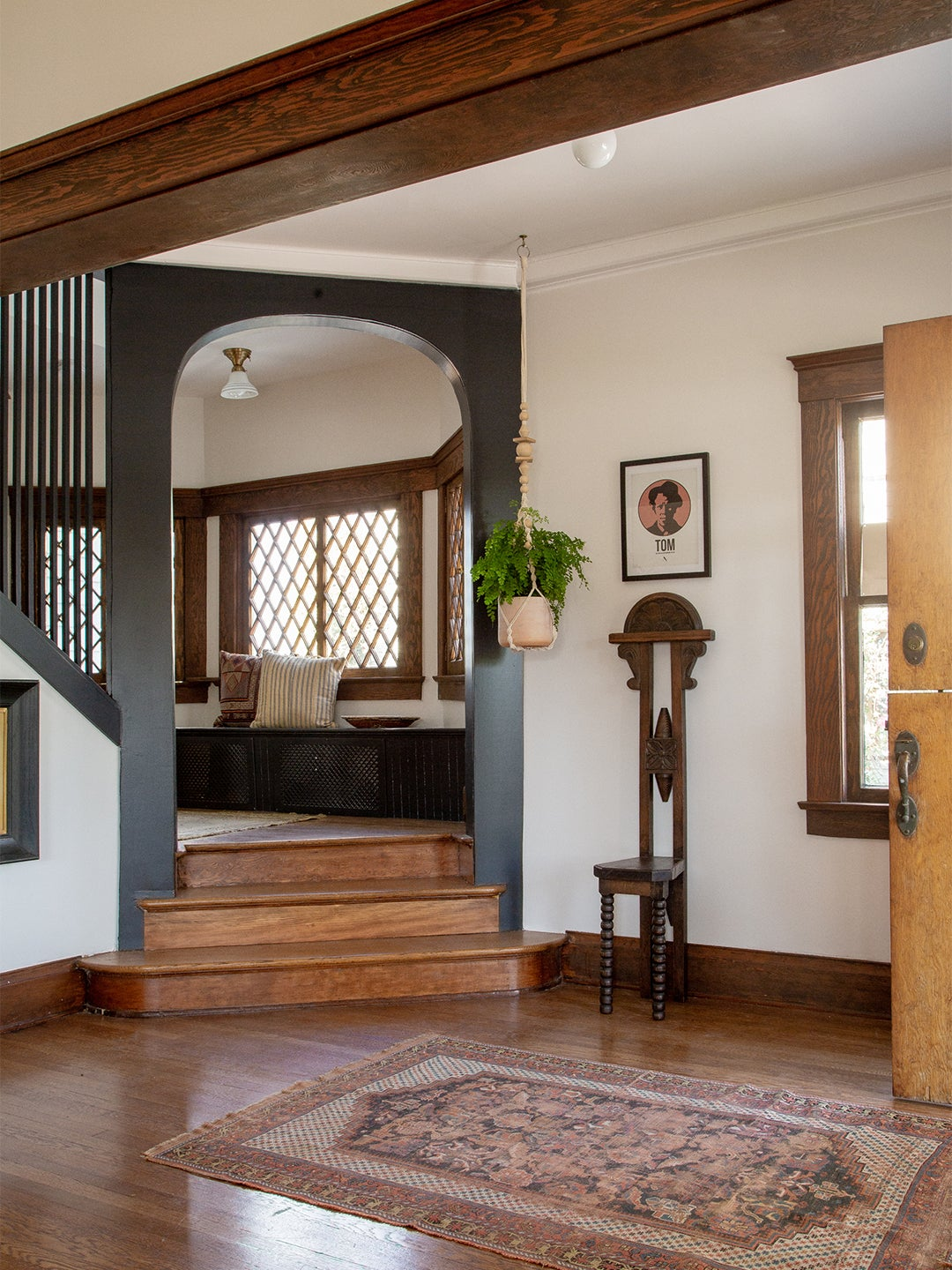 black painted arch in an entryway