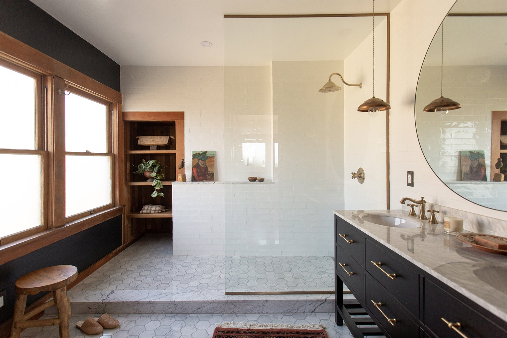 marble bathroom floors and glass partition