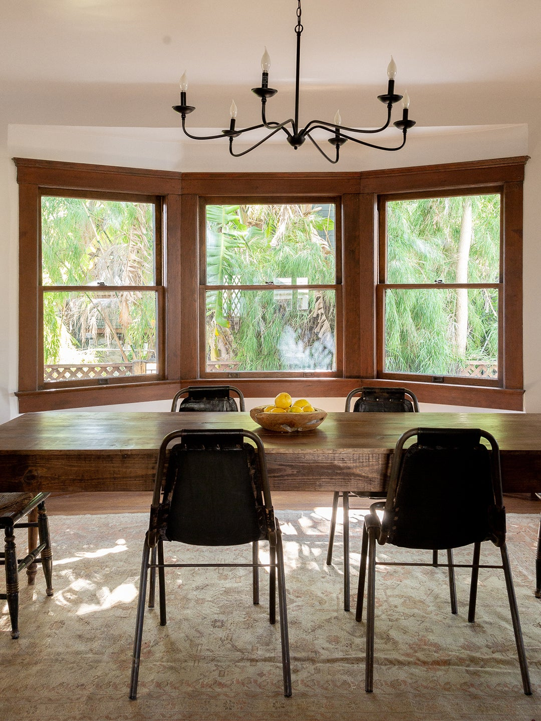 dining room with large bay window