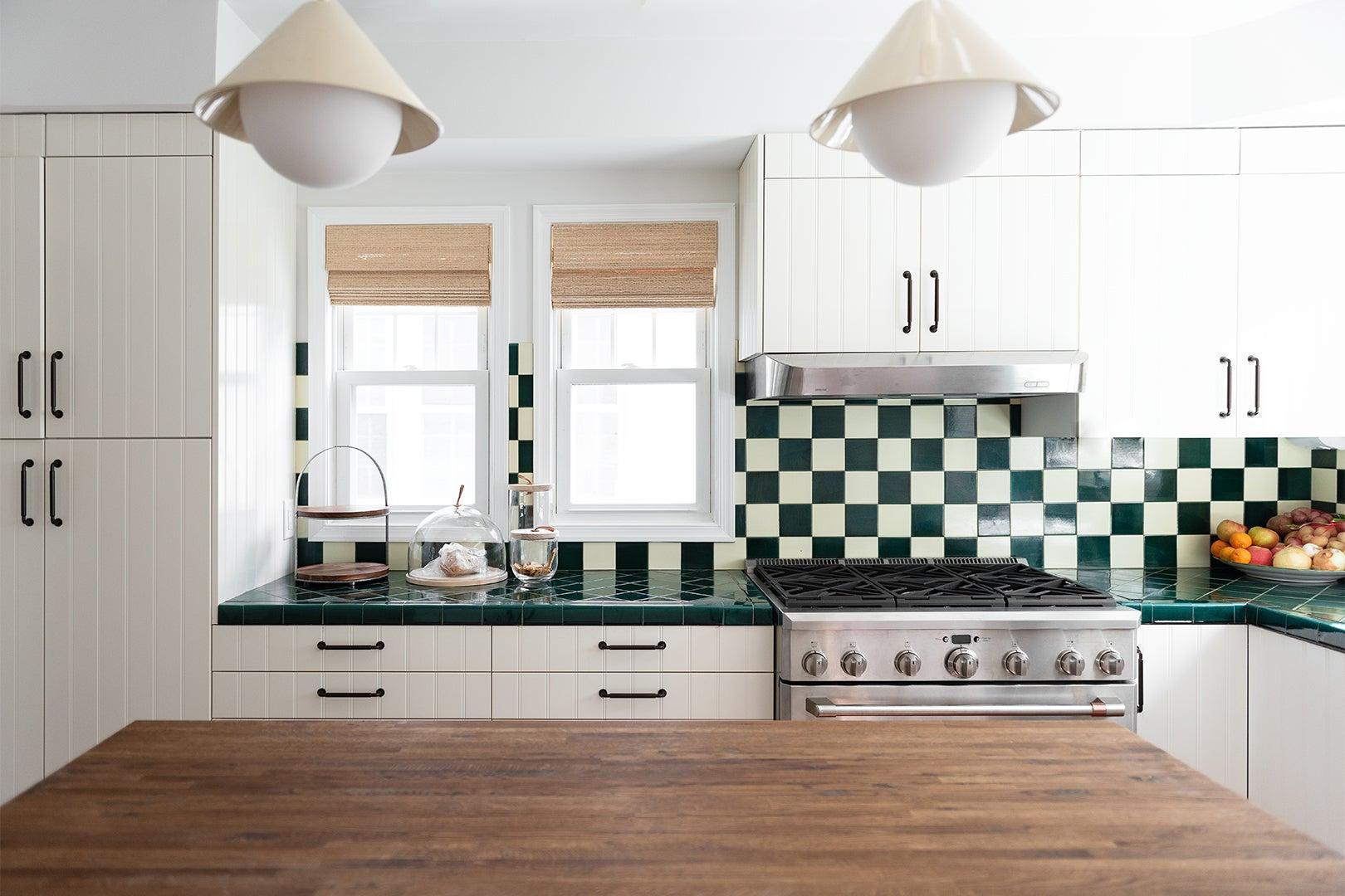 Green tiled countertops