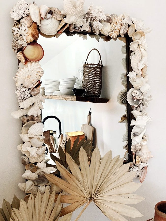 shell covered mirror