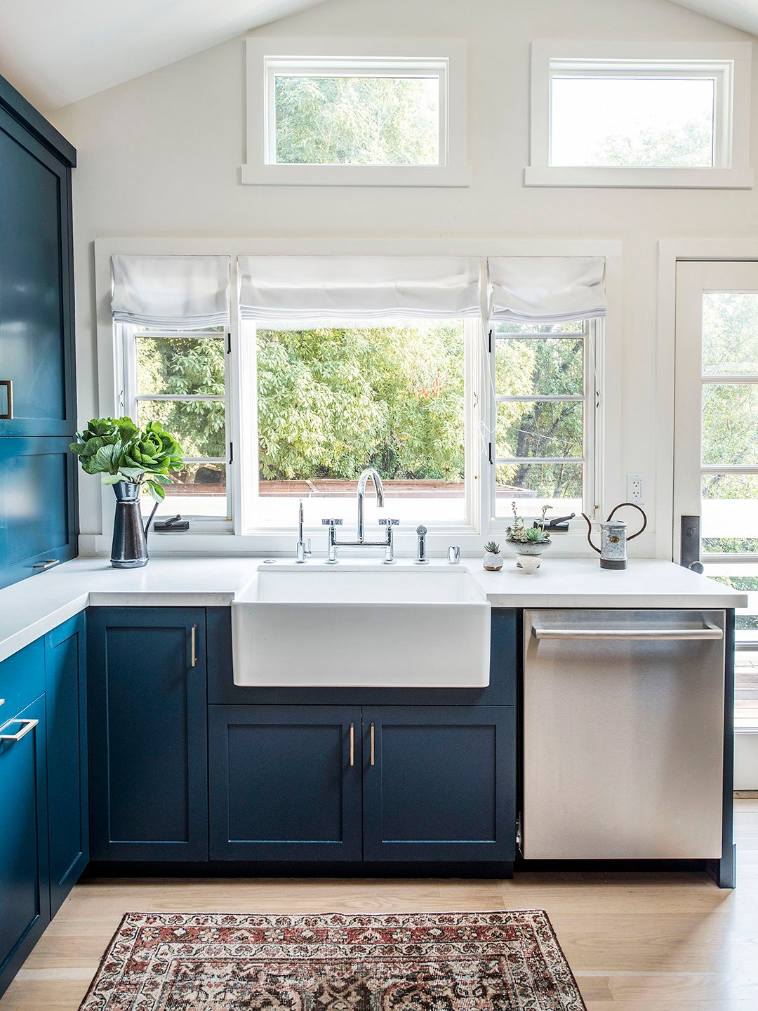 Navy Kitchen Cabinets Go Well With, Navy Blue Kitchen Cabinets With Butcher Block Countertops