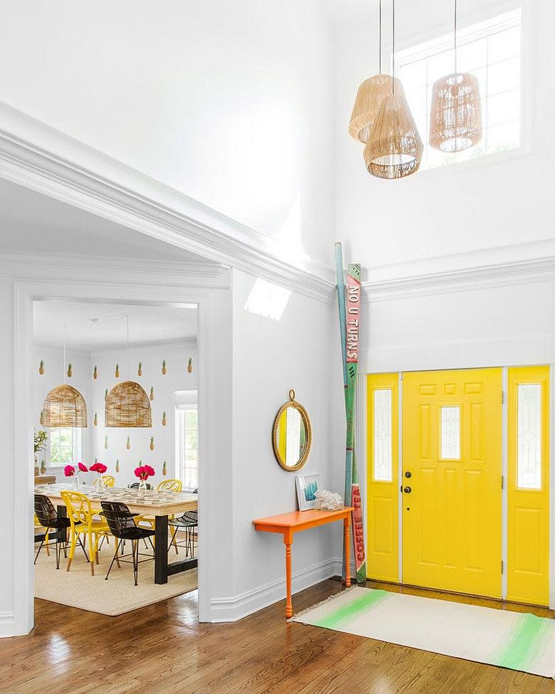 entryway with big yellow doors