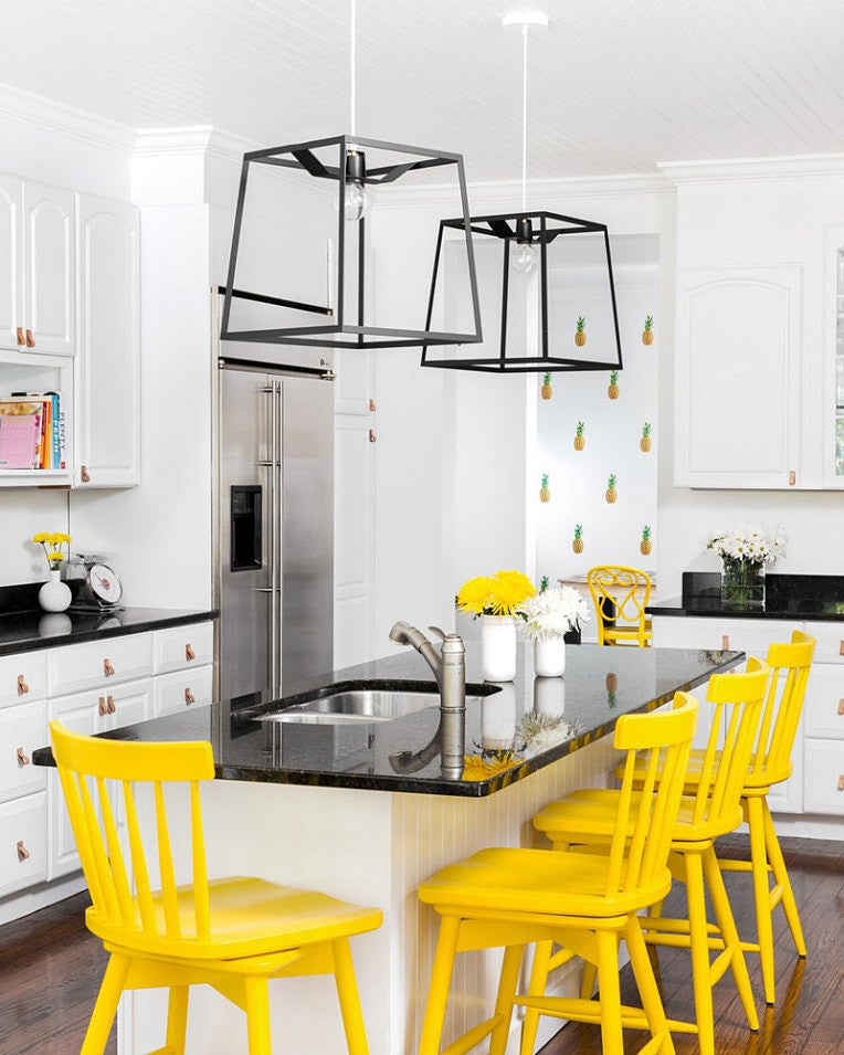 kitchen with yellow bar stools