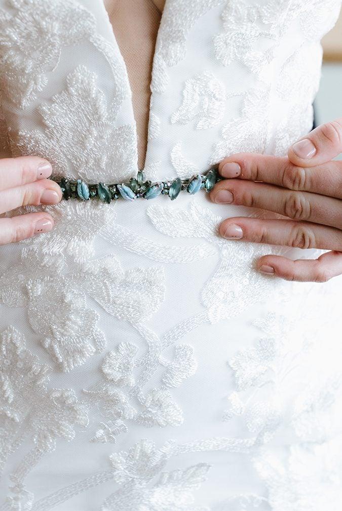 white dress with blue belt