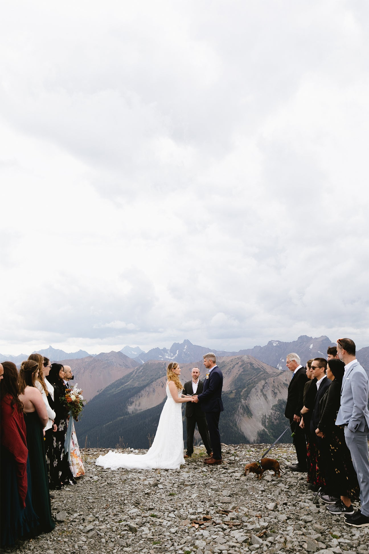 couple getting married on mountain