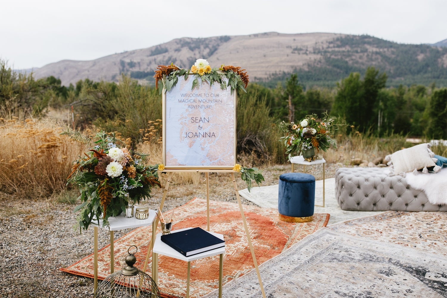layered rugs and welcome table