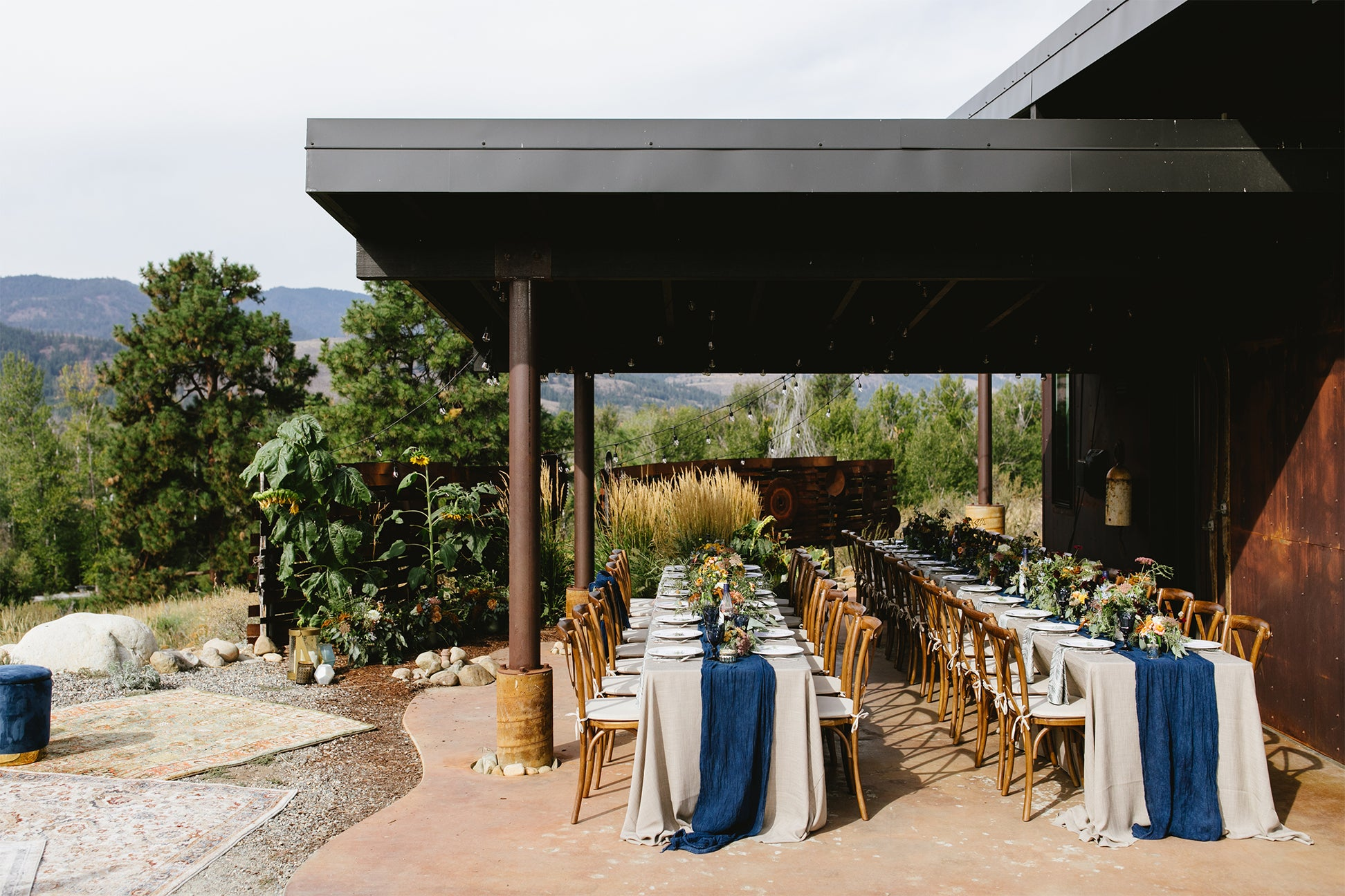 tables draped with blue runners