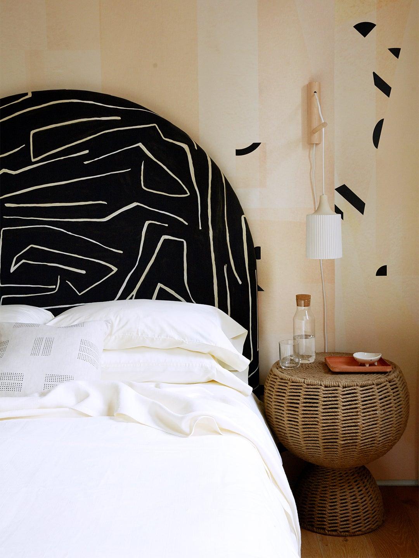 abstract curved bedroom headboard