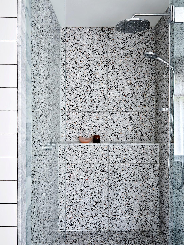 grey terrazzo shower