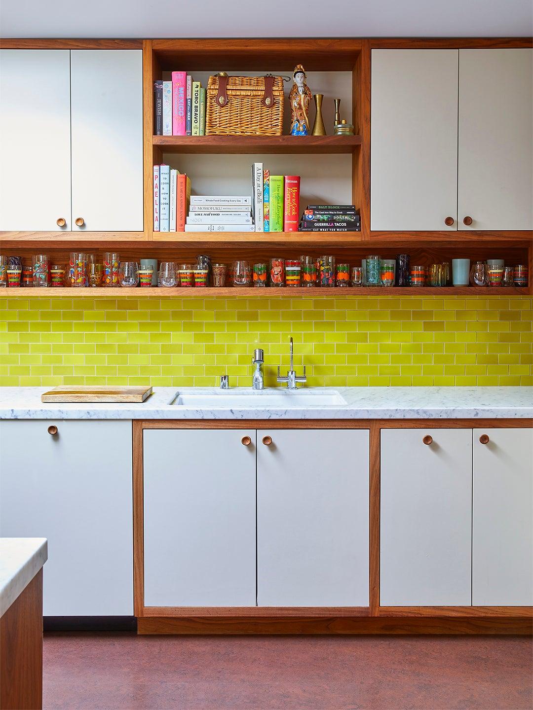 chartreuse backsplash white kitchen cabinets