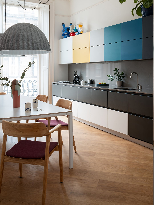 multicolored ombre kitchen cabinets