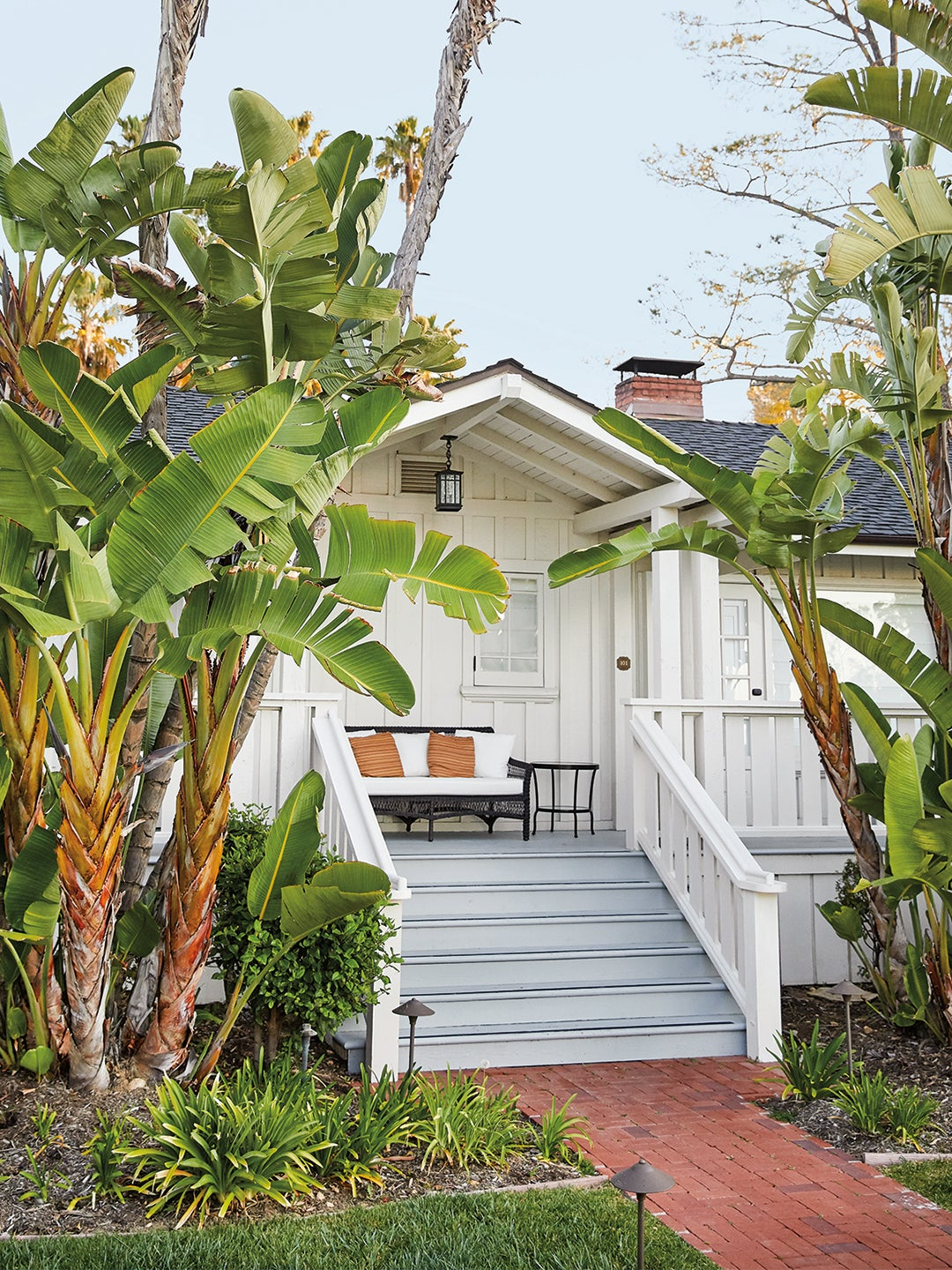 exterior of a home with tropical trees
