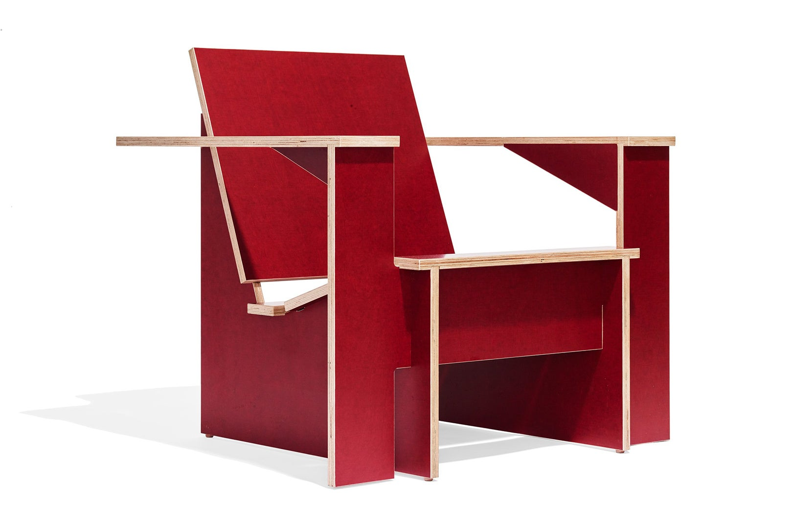 red plywood chair