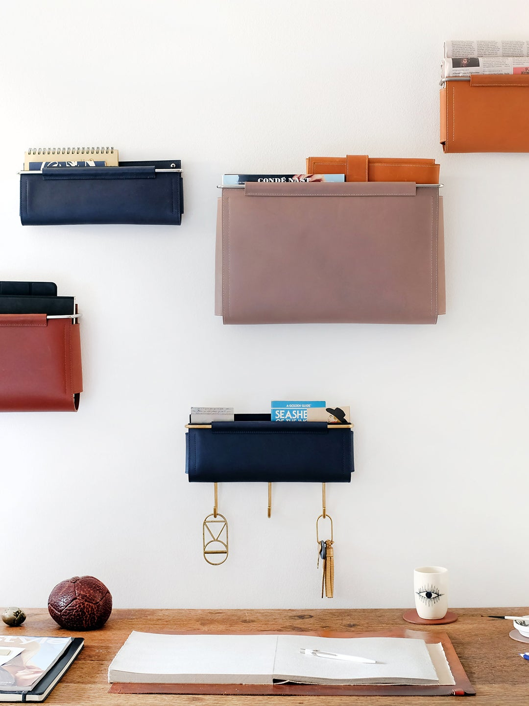 leather pockets on the wall