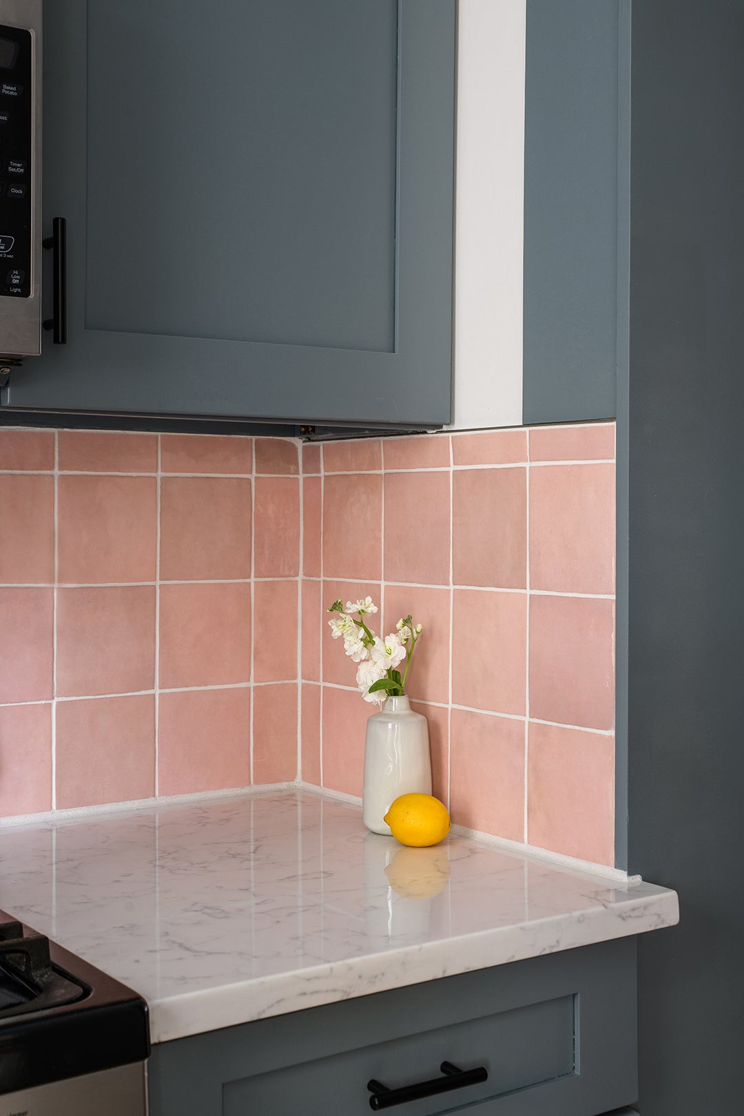 pink square backsplash tiles