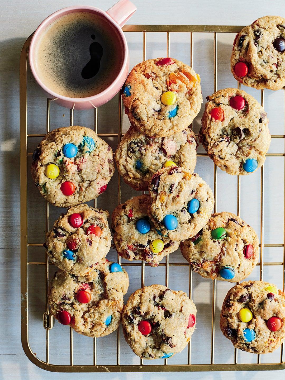 m&M cookies with mug of coffee