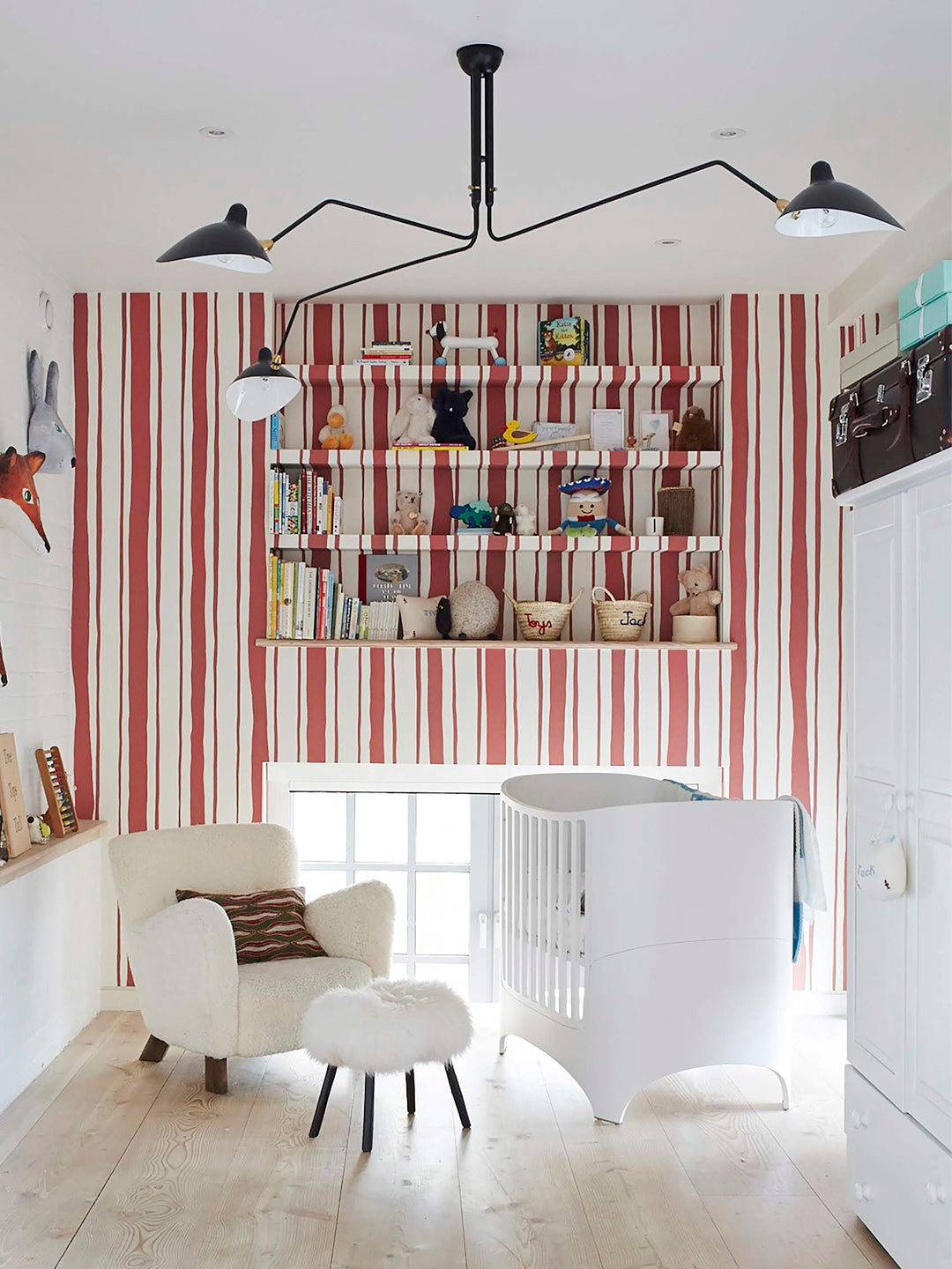 red and white striped wallpaper nursery
