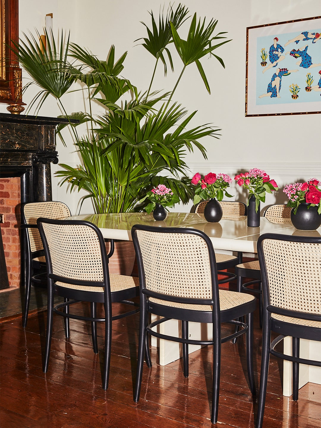 dining room with cane chairs and giant plant in the corner