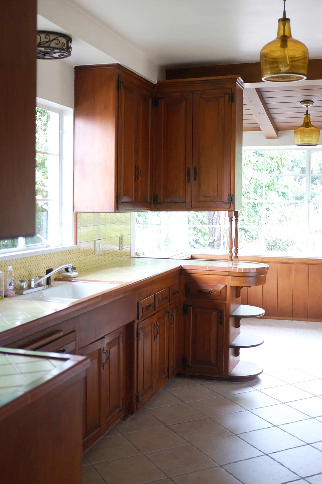 wood and yellow kitchen