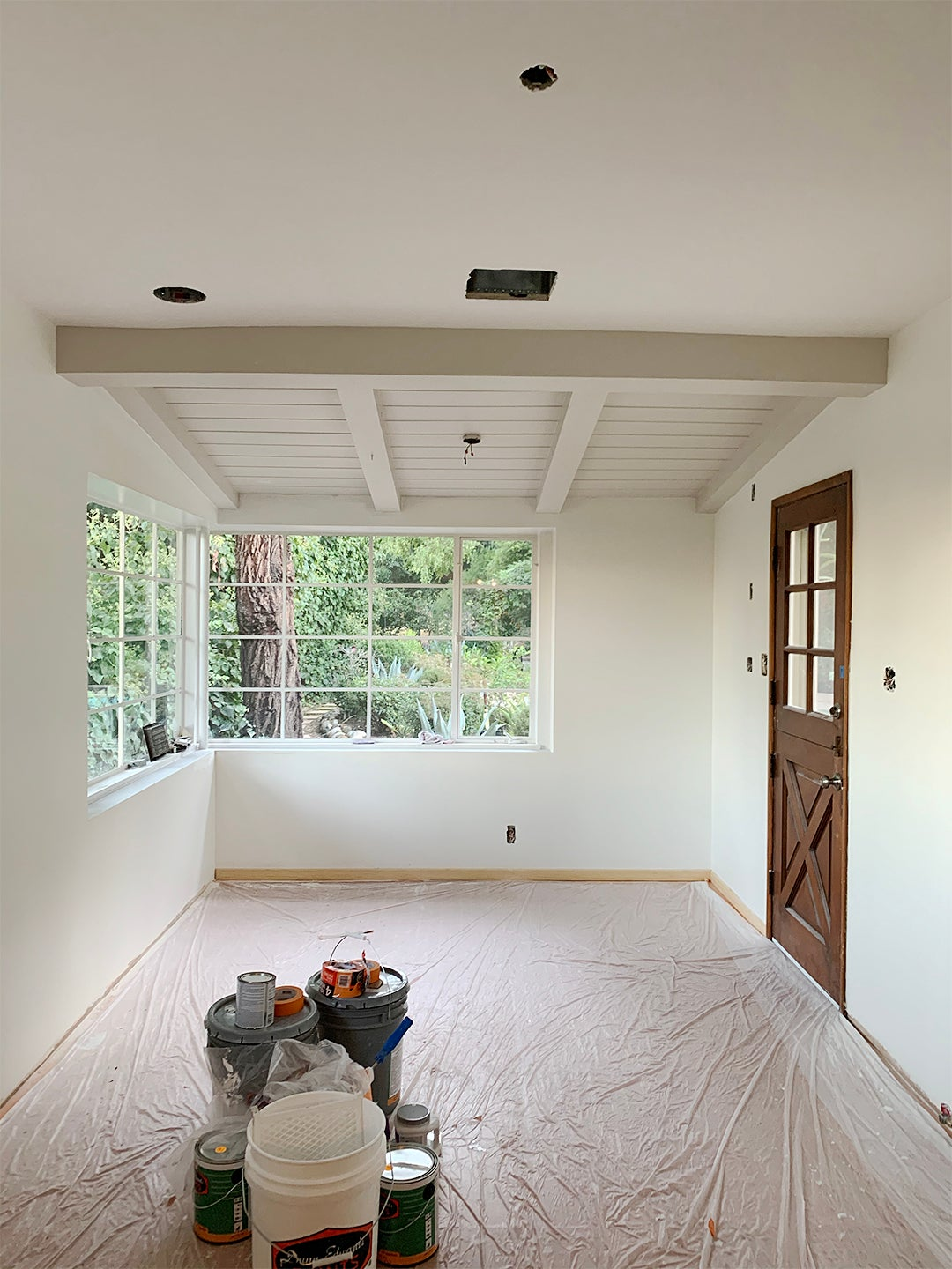 kitchen with sloped ceilings under construction