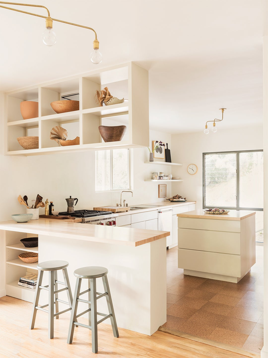 white kitchen with wood counters
