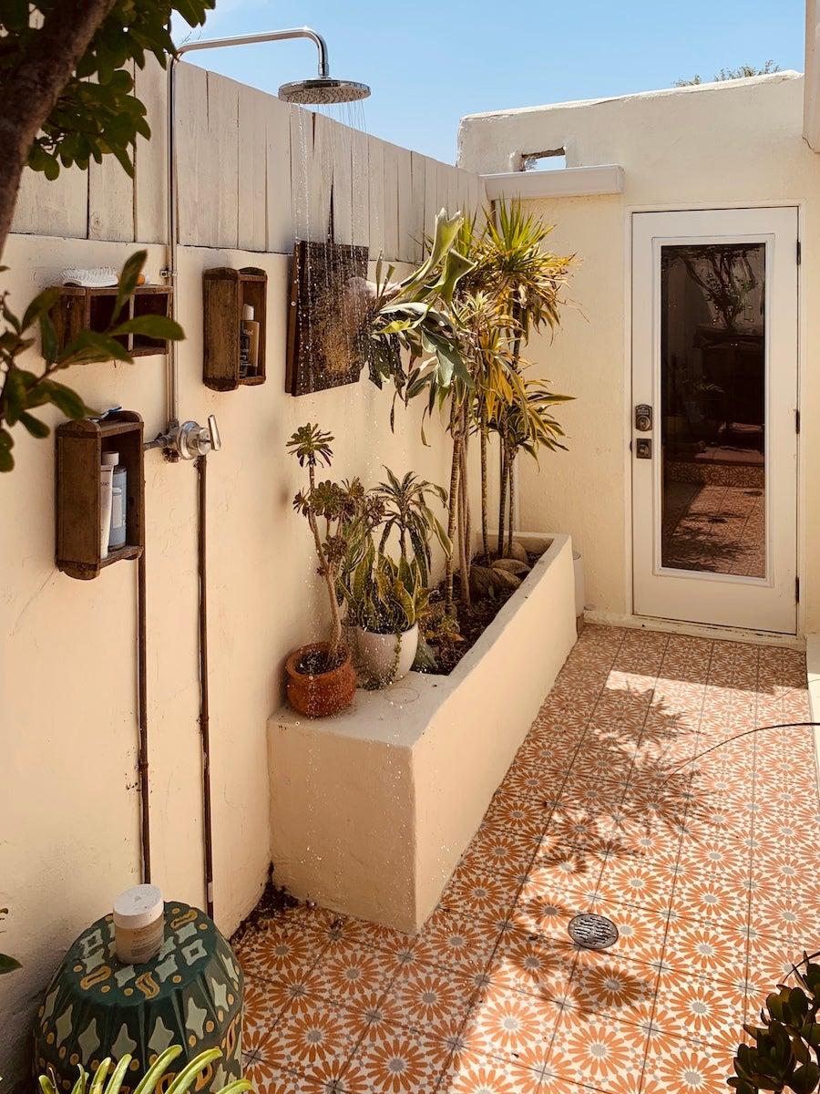 outdoor shower moroccan tile patio