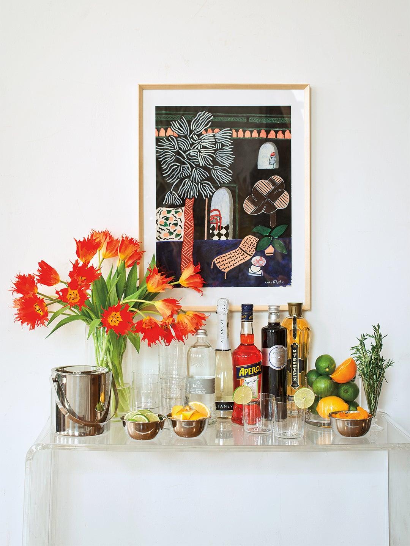 bar cart with tulip vase