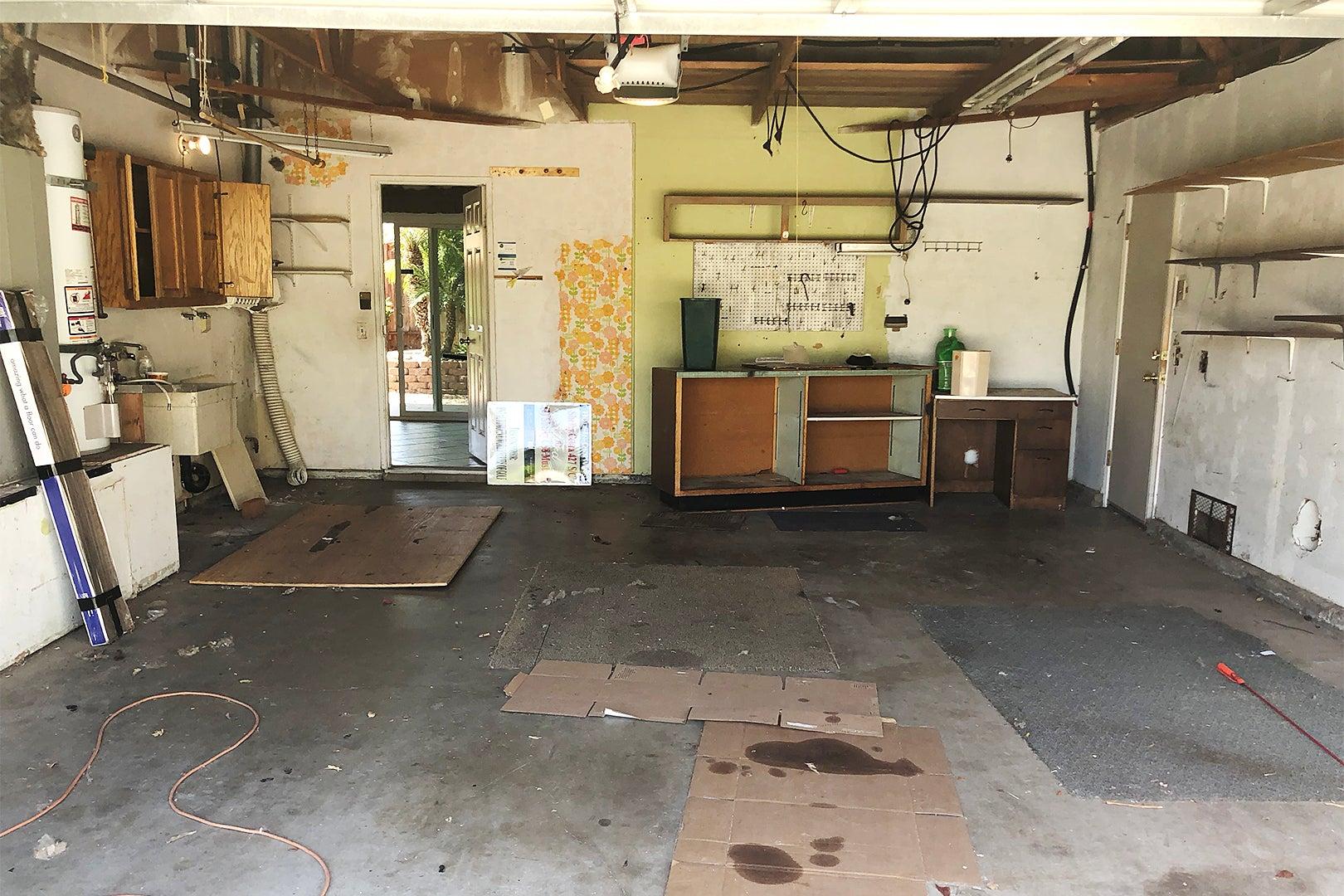 garage with scraps on floor