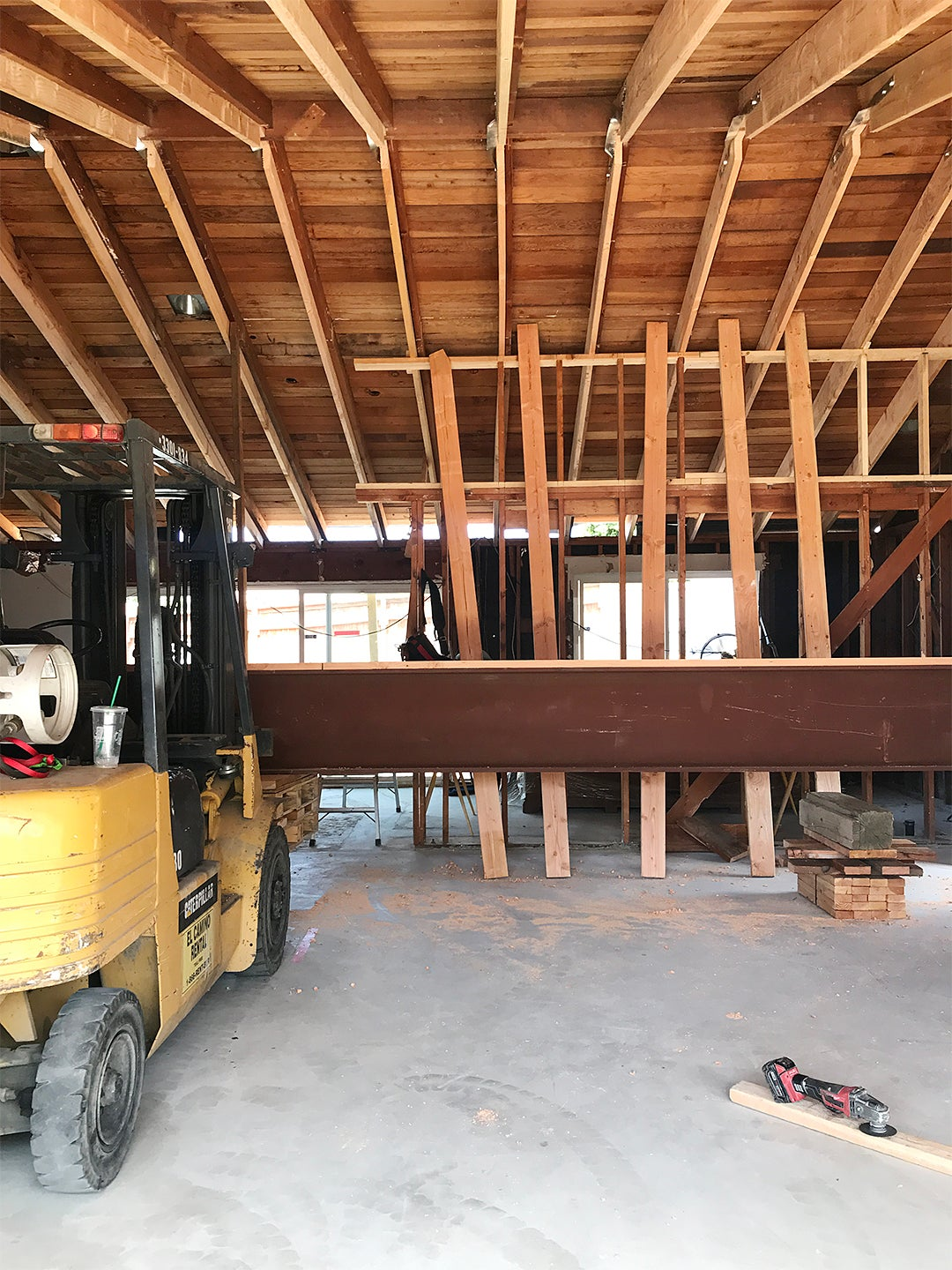cement flor and wood beam vaults