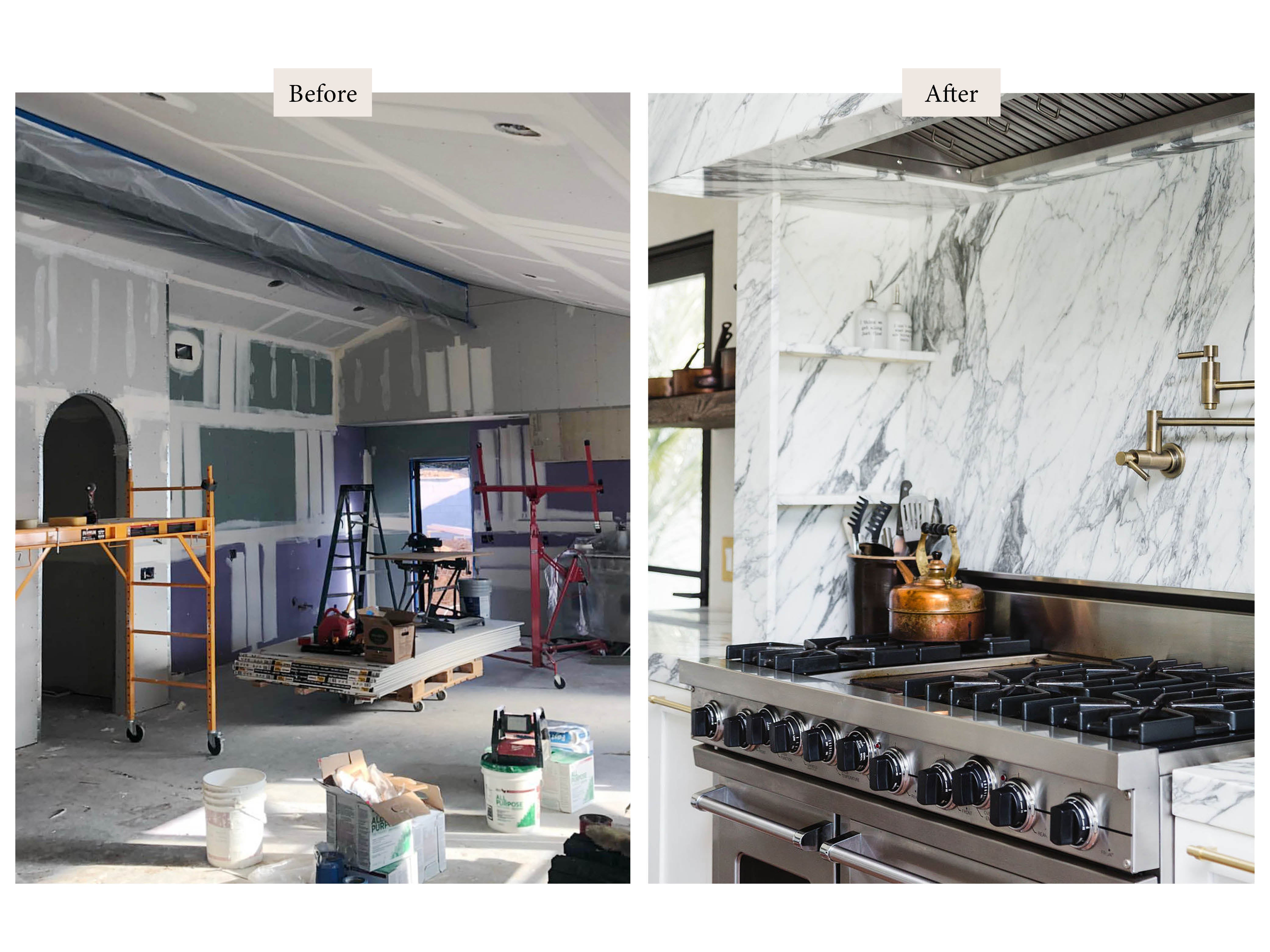 before and after of a kitchen under construction