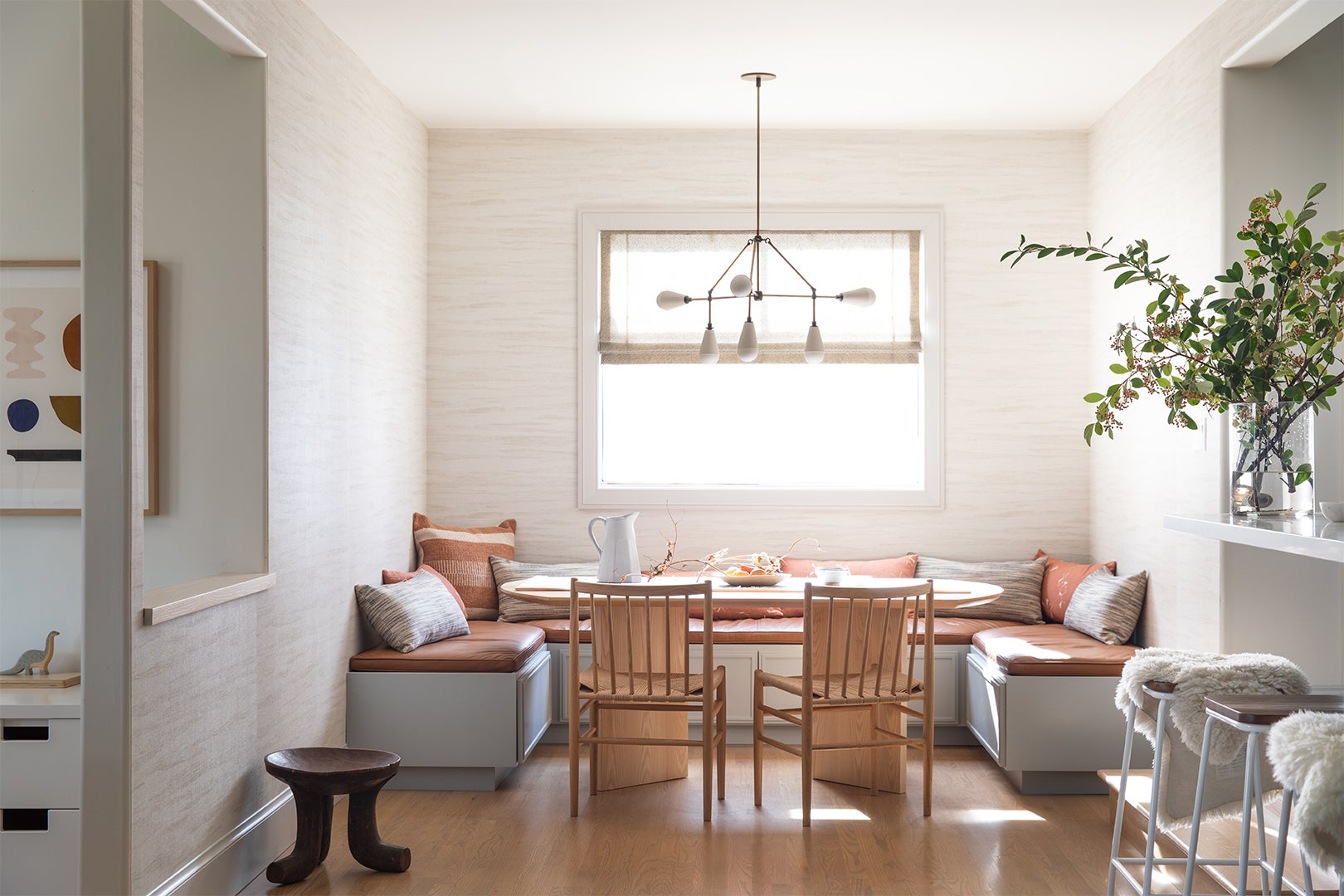 Built-in banquette with leather seats